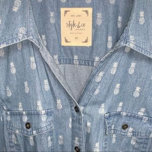 Style & Co Tops - NWT Style & Co Chambray Pineapple Button Down Top
